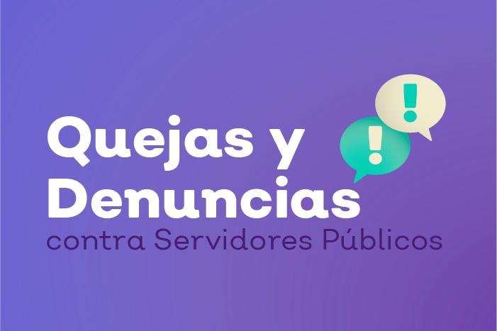 Imagen cuadrada de color guinda que muestra dos cajas de texto con signo de exclamación color blanco con el texto Quejas y Denuncias contra servidores públicos